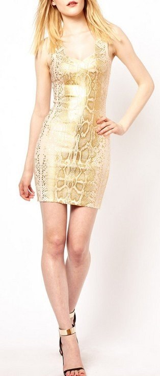 Cloverl Zoila Metallic Bandage Dress  Free Global Shipping