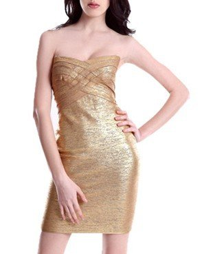 Cloverl Miley Metallic Strapless Bandage Dress Free Global Shipping