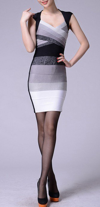 Cloverl Bella Gradient Bodycon Bandage Dress 3 colors Free Global Shipping