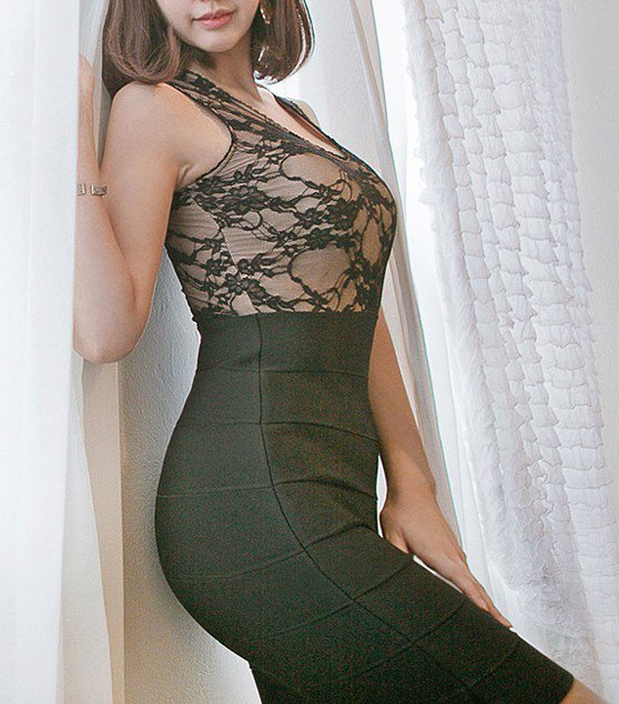 Cloverl Lindsay Black Lace Up Bodycon Bandage Dress Free Global Shipping