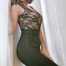 Cloverl Lindsay Black Lace Up Bodycon Bandage Dress Free Global Shipping