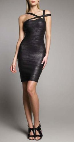 Cloverl Kendall Black Strappy Bandage Dress Free Global Shipping