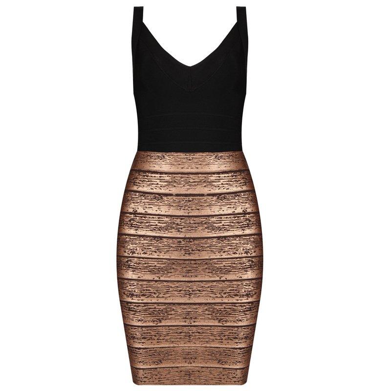Cloverl Mila Strap Metallic Bandage Dress Free Global Shipping