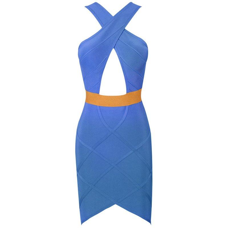 Cloverl Gemma Blue and Gold Keyhole Bandage Dress Free Global Shipping