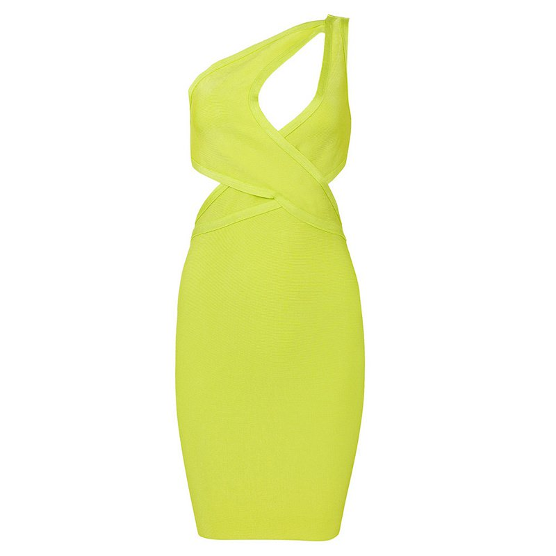Cloverl  Nariko  Lime One Shoulder Bandage Dress Free Global Shipping