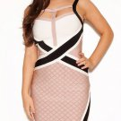 Cloverl Tatum Nude,black and white Strappy Bandage Dress Free Global Shipping