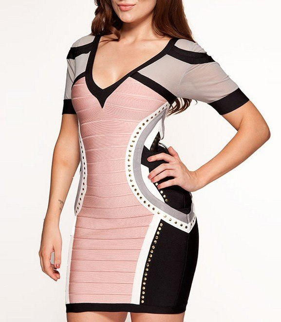 Cloverl  Pippa Pink, Black and White V neck Bandage Dress with Studs.Free Global Shipping
