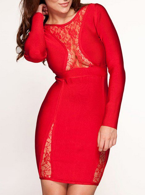Cloverl Conna Red Lace Long Sleeve Bandage Dress Free Global Shipping