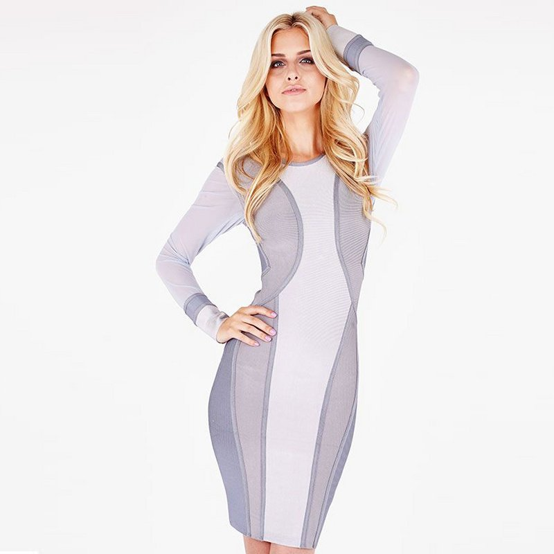 Cloverl Annie Long Sleeve Bandage Dress Free Global Shipping