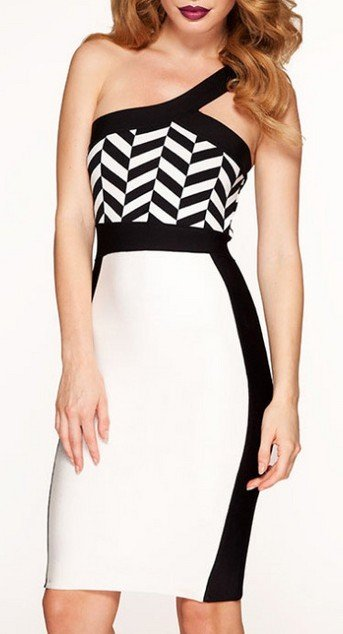 Cloverl  Cassidy Black and White One Shoulder Bandage Dress Free Global Shipping
