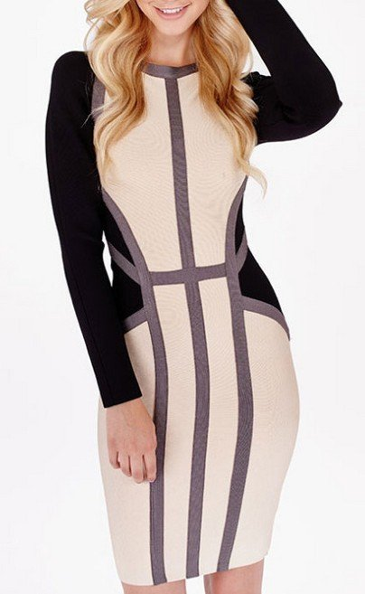 Cloverl Emma Long Sleeve Bandage Dress Free Global Shipping