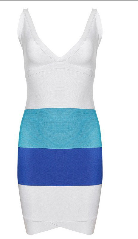 Cloverl Linda Tri-color Deep V Bandage Dress Free Global Shipping