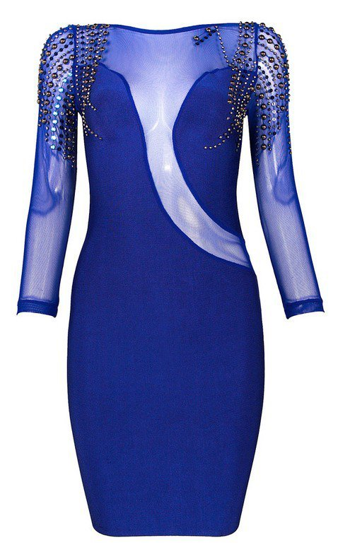 Cloverl Sarah Long Sleeve Beaded Bandage Dress Free Global Shipping