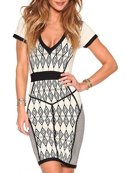 Cloverl Ariel Geometrical Bandage Dress  Free Global Shipping