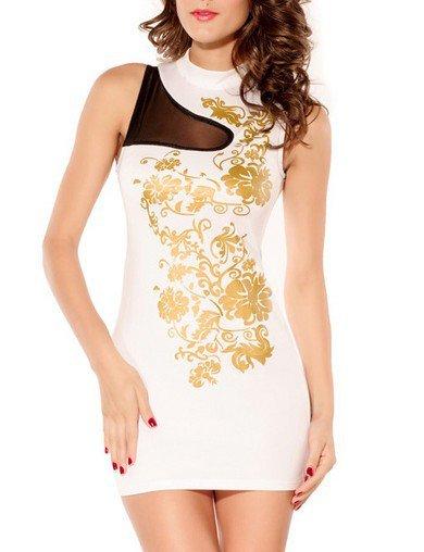 Cloverl Blake Golden Print Pattern Bandage Dress  Free Global Shipping
