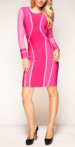 Cloverl Tara Pink Mesh Long Sleeve Bandage Dress Free Global Shipping