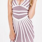 Cloverl  Anahi Beige and White Deep V Bandage Dress Free Global Shipping