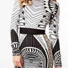 Cloverl Sara Geometric Long Sleeve Bandage Dress Free Global Shipping