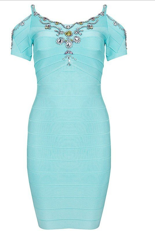Cloverl Cecily Beaded Bandage Dress Free Global Shipping