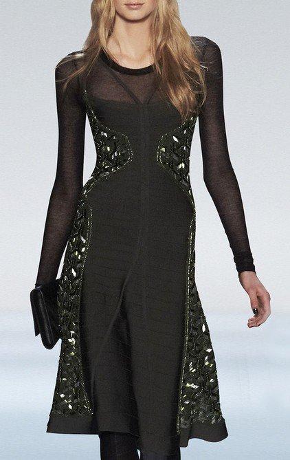 Cloverl Kelsey Beaded Long Sleeve Bandage Dress Free Global Shipping