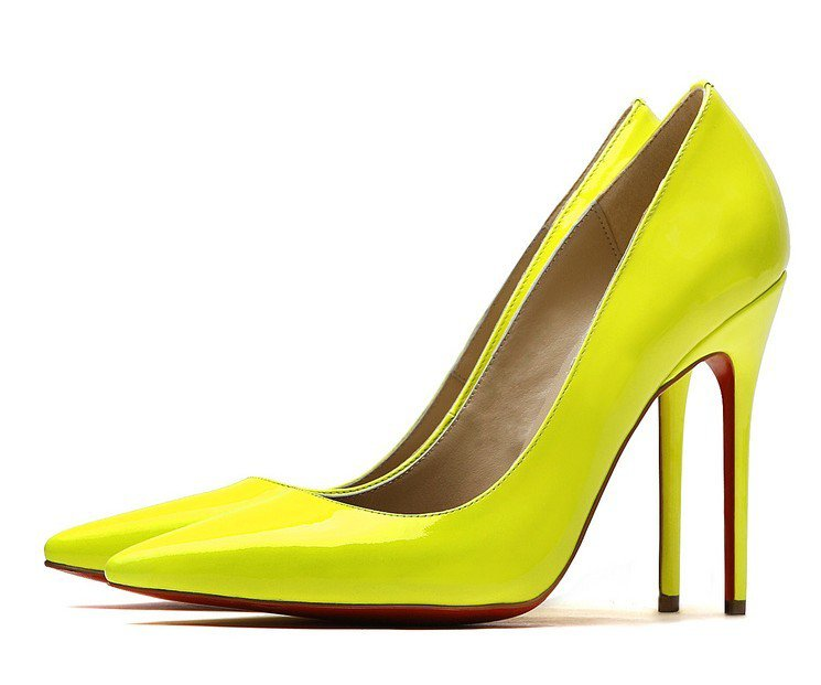 Cloverl Classic Jane Pump in Patent leather in Lemon Free Global Shipping