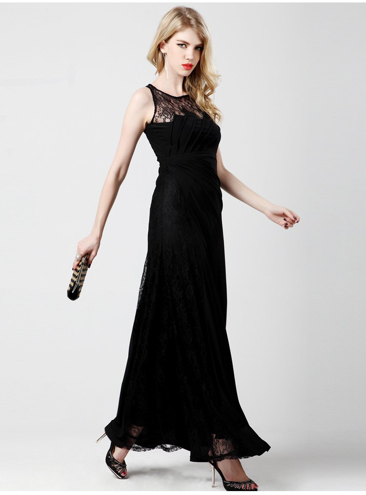 Cloverl Carrie Lace Evening Dress in black Free Global Shipping