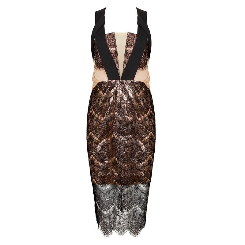 Cloverl Molly Party Dress with Lace in Eyelash Effect Free Global Shipping
