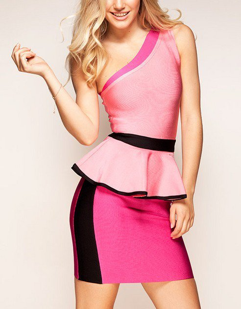 Cloverl Claudia One Shoulder Peplum Bandage Dress, 2 Options