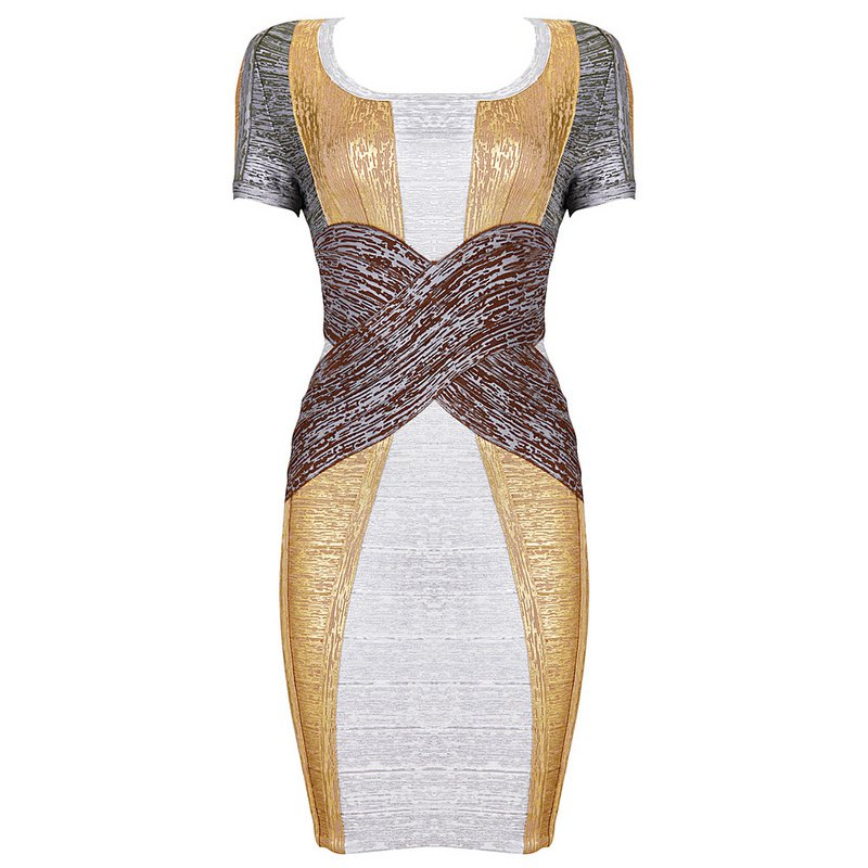 Cloverl Vivien Metallic Bandage Dress Free Global Shipping