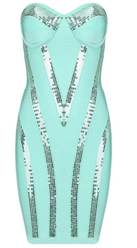 Cloverl Michaela Aqua Sequin Strapless Bandage DressFree Global Shipping