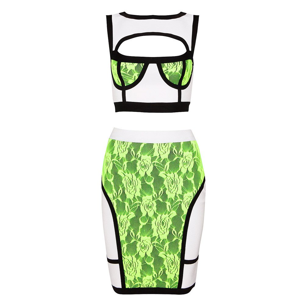 Cloverl Neon Green and White Lace two piece set bandage dress