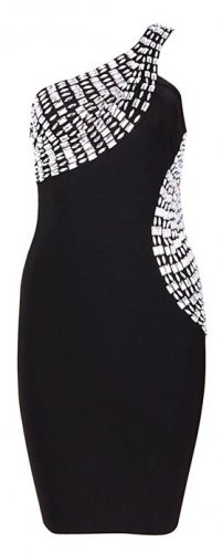 Cloverl Mila Beaded One Shoulder LBD bandage dress