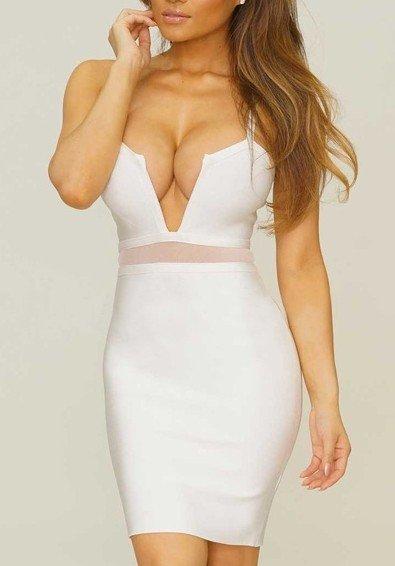 Cloverl Saskia White Deep V Strappy Bandage Dress Free Global Shipping