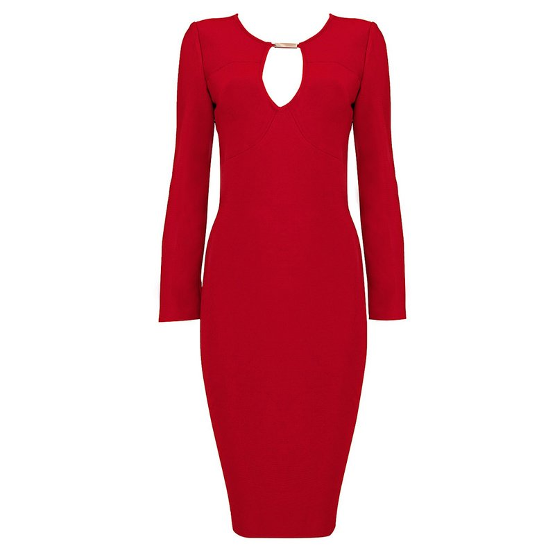 Cloverl Freya Red Long Sleeve Bandage Dress Free Global Shipping
