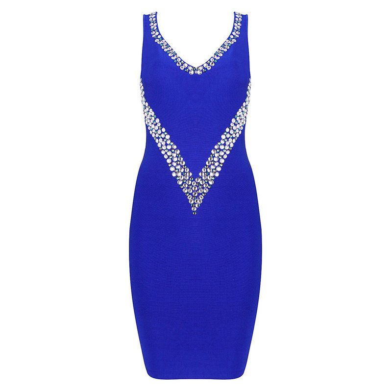 Cloverl Jess Blue Beaded Deep V Bandage Dresss Free Global Shipping
