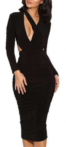 Nicolina BLACK DRAPED SILKY JERSEY CUT OUT DRESS