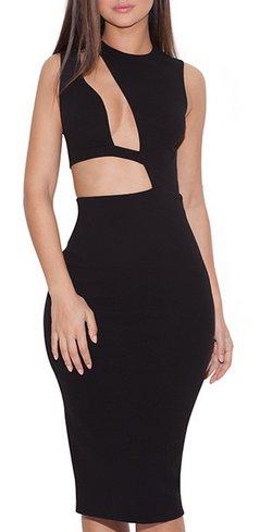 Romana BLACK CUT OUT BODYCON DRESS