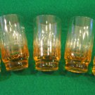 Vintage Amber Shot Glasses with Vertical Cuts, Set of 5