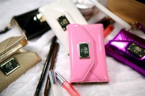 Pink Leather Design wallet purse case cover for Apple Iphone 4 4S new metal badge