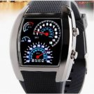 Sports RPM Turbo Blue White Flash LED Car Speed Meter Dial Men Wrist Watch