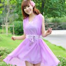 Women Woman V-neck Flouncing Pleated Cocktail Party With Silk Chiffon Georgette Belt Dress