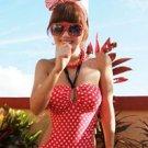 Vintage Womens Keyhole Halter One Piece Monokini Polka Circle Round Dot Bathing suit Swimsuit