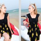 South Korean Style new Model yards Feather Print Padded One Piece Swimdress Swimsuit
