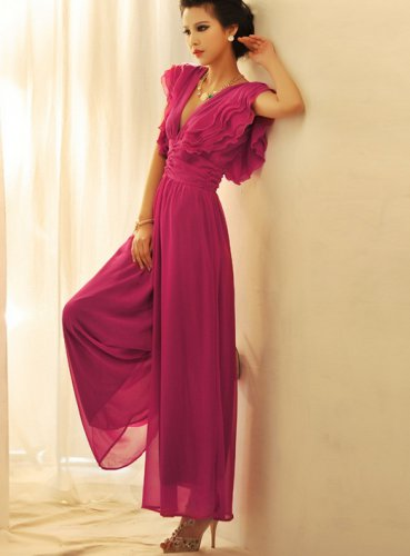 Low Cut V neck Waist Pants Party Evening Coaktail Jumpsuit Chiffon Maxi Ruffle Tiered Dress