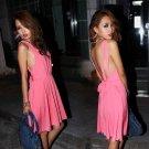 Women Sexy Open Back Tie Elegant Stretch Club Clubbing Pub Party Dress Short Mini Skirts