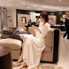 Korean Women Elegant Long Sleeve Boho Chiffon Empire Waist Beach Full Beige White color Long Dress