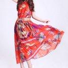 Women Chic Elegant Floral Chiffon Halter Boho Wide Hem Long Maxi Beach Dress w/ Belt