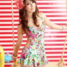 Vintage Beautiful Floral Backless 1 Piece Halter Tie Pad Swimsuit Monokini Swims Dress