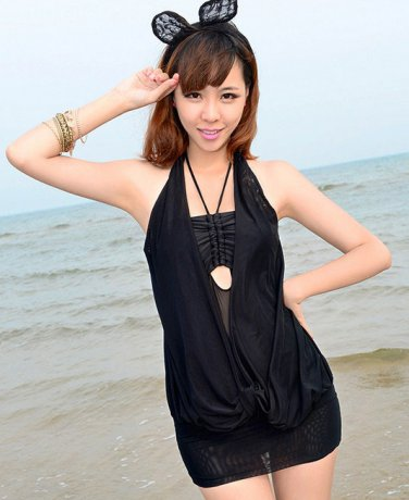 Attractive Ruffle Halter Bikini Swimsuit Padded Swimwear Bathing suit Bottom