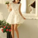 Elegant Women Trendy Lace Sunflower Floral pattern SLEEVELESS  White Color dress
